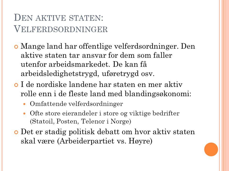 Den aktive staten: Velferdsordninger