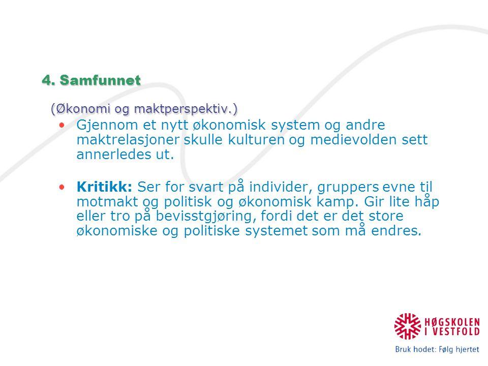 4. Samfunnet (Økonomi og maktperspektiv.)