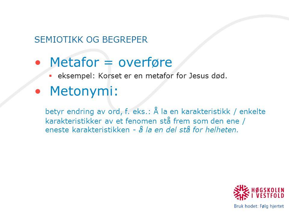Metafor = overføre Metonymi: