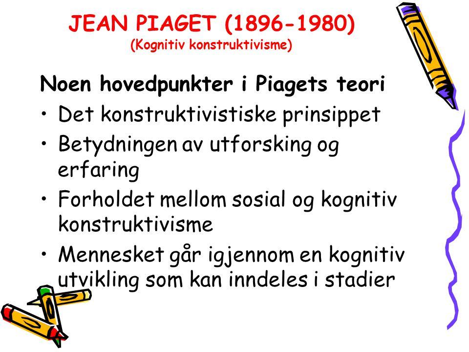JEAN PIAGET (1896-1980) (Kognitiv konstruktivisme)
