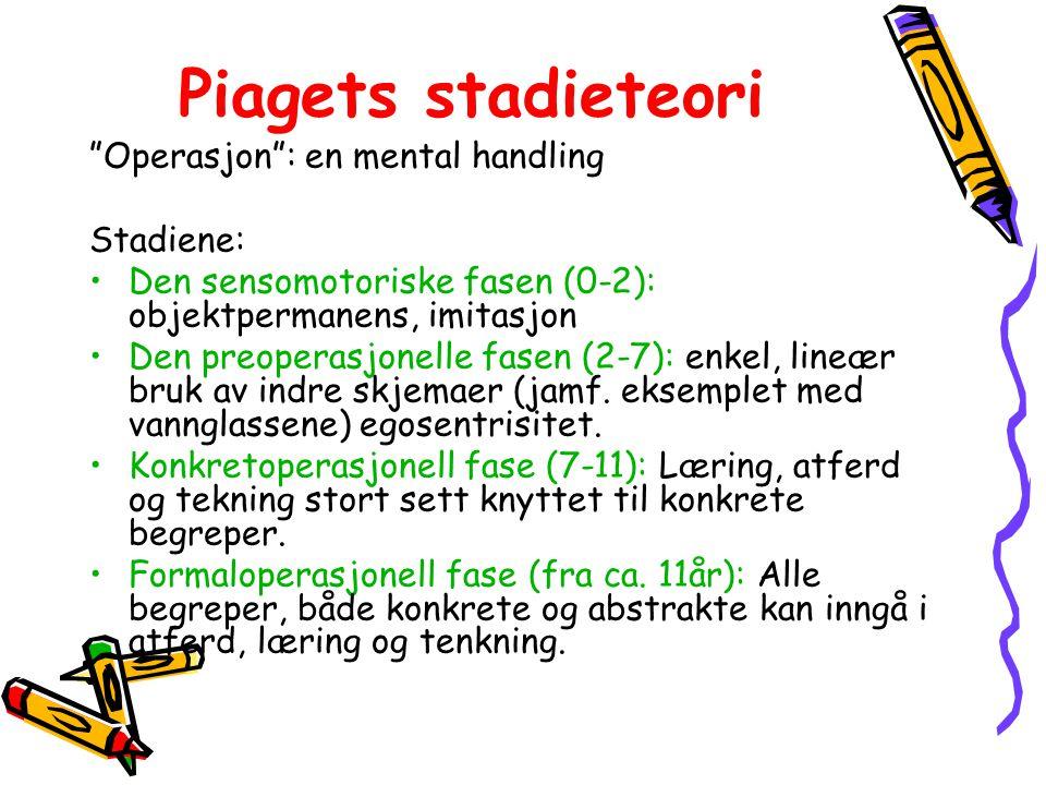 Piagets stadieteori Operasjon : en mental handling Stadiene: