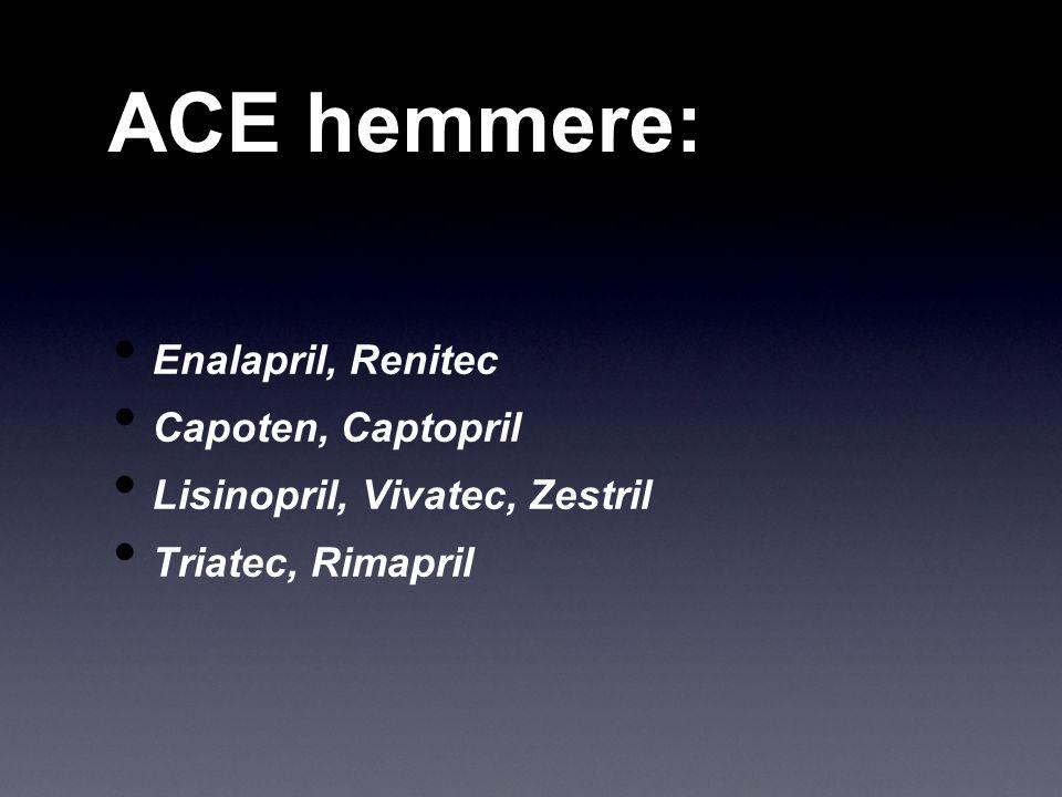 ACE hemmere: Enalapril, Renitec Capoten, Captopril