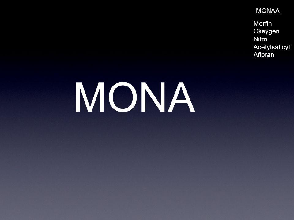 MONAA Morfin Oksygen Nitro Acetylsalicyl Afipran MONA