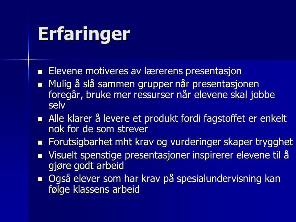 Erfaringer Elevene motiveres av lærerens presentasjon