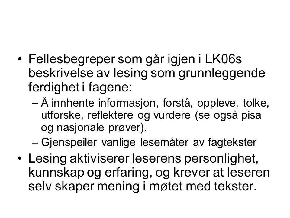 Fellesbegreper som går igjen i LK06s beskrivelse av lesing som grunnleggende ferdighet i fagene: