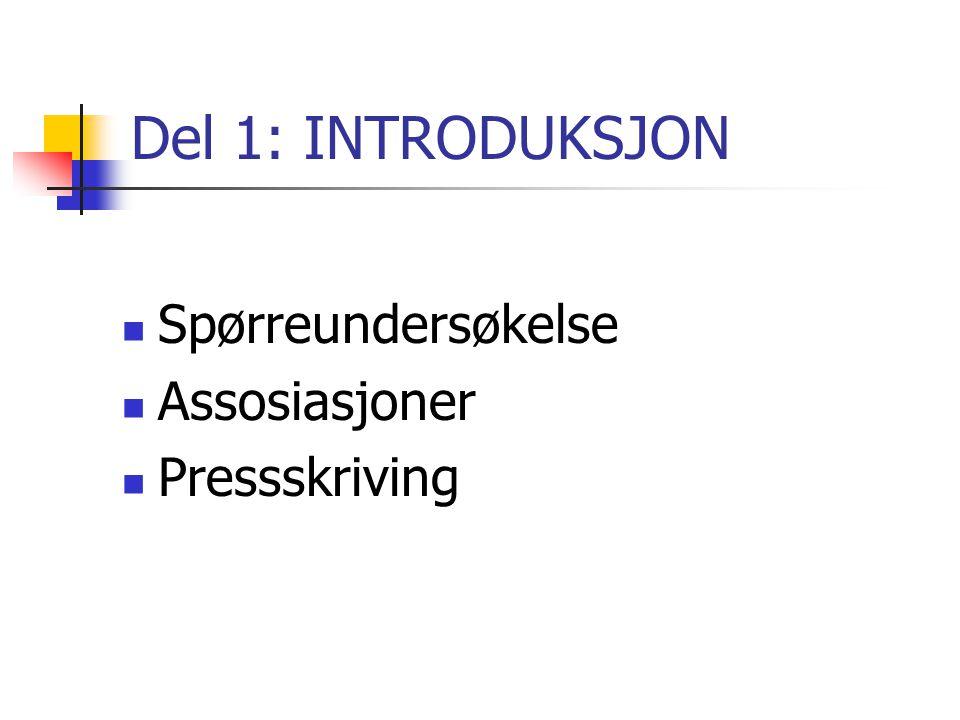 Del 1: INTRODUKSJON Spørreundersøkelse Assosiasjoner Pressskriving