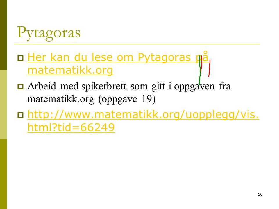Pytagoras Her kan du lese om Pytagoras på matematikk.org