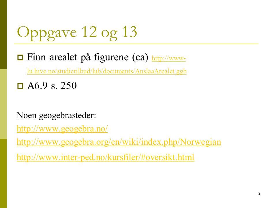 Oppgave 12 og 13 Finn arealet på figurene (ca) http://www-lu.hive.no/studietilbud/lub/documents/AnslaaArealet.ggb.