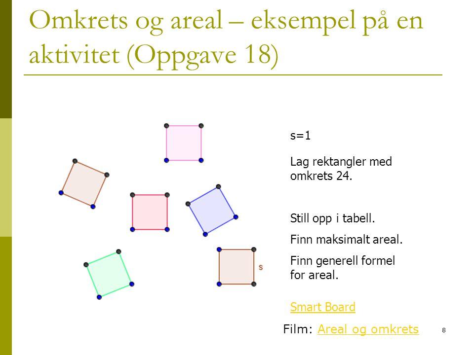 Omkrets og areal – eksempel på en aktivitet (Oppgave 18)