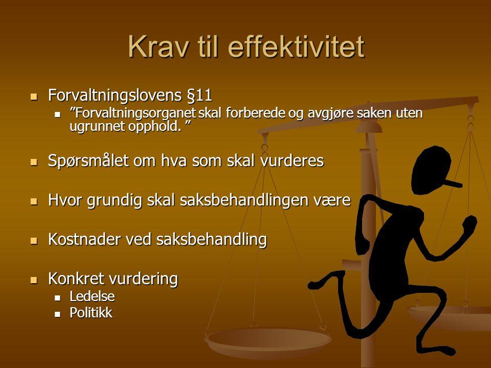 Krav til effektivitet Forvaltningslovens §11