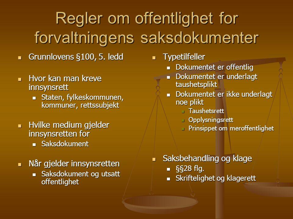 Regler om offentlighet for forvaltningens saksdokumenter