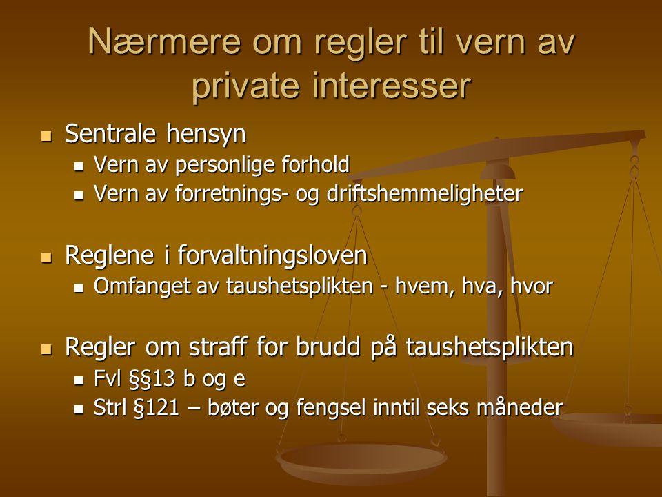 Nærmere om regler til vern av private interesser