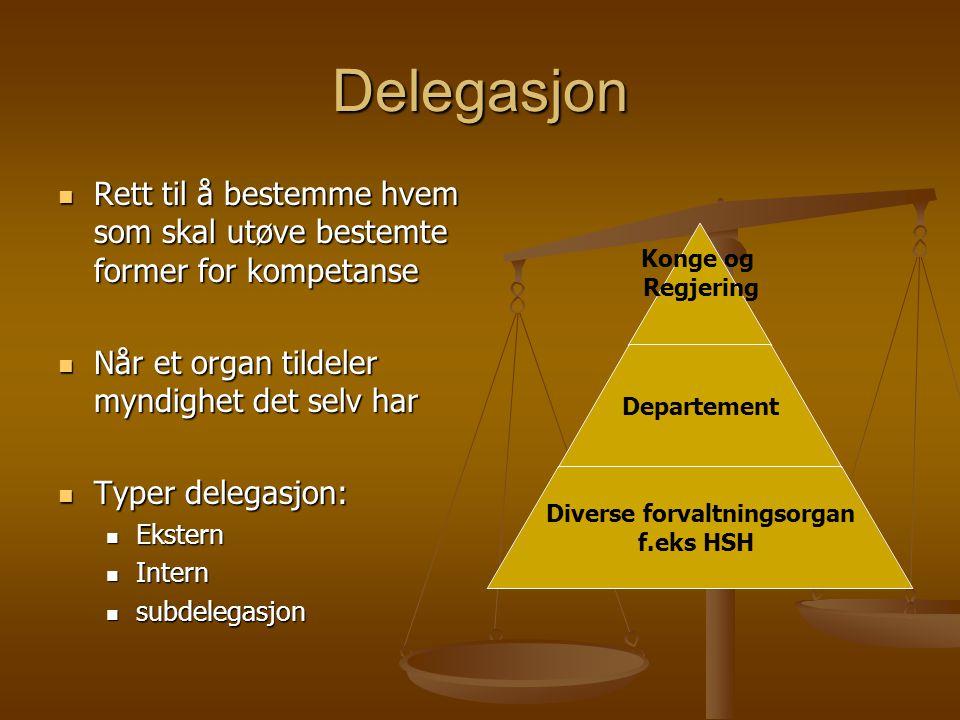 Delegasjon Rett til å bestemme hvem som skal utøve bestemte former for kompetanse. Når et organ tildeler myndighet det selv har.