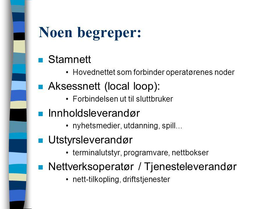 Noen begreper: Stamnett Aksessnett (local loop): Innholdsleverandør