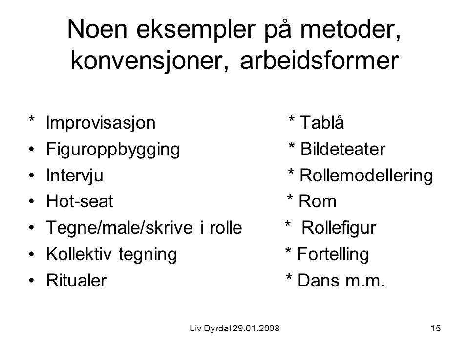 Noen eksempler på metoder, konvensjoner, arbeidsformer