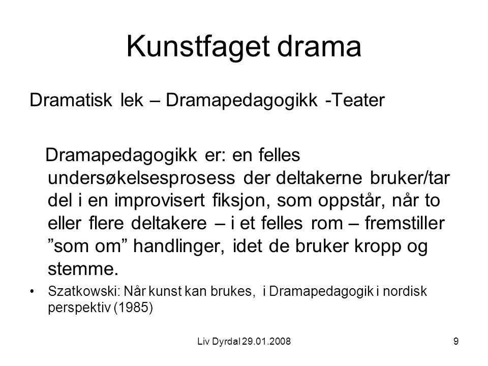 Kunstfaget drama Dramatisk lek – Dramapedagogikk -Teater