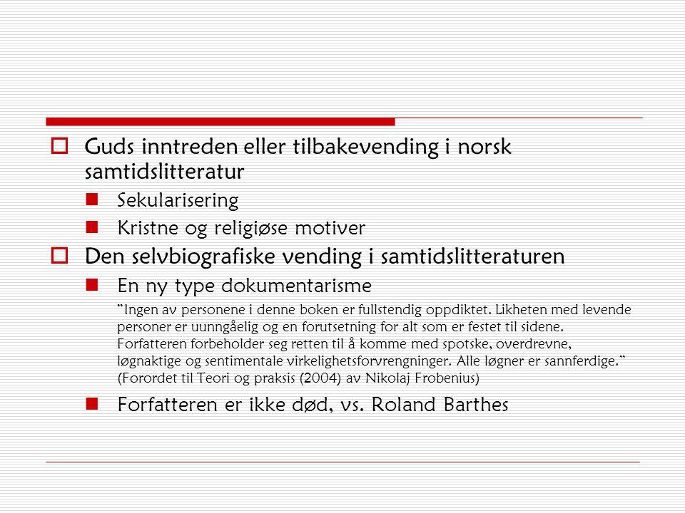 Guds inntreden eller tilbakevending i norsk samtidslitteratur