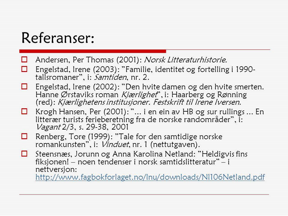 Referanser: Andersen, Per Thomas (2001): Norsk Litteraturhistorie.