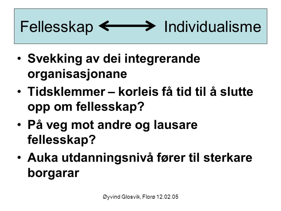 Fellesskap Individualisme