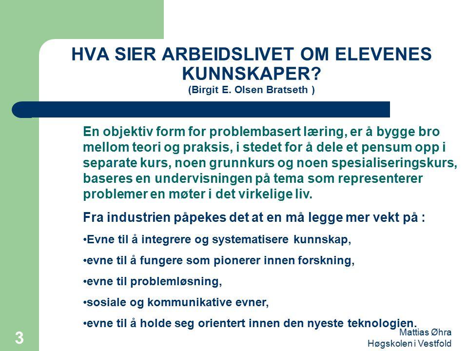 HVA SIER ARBEIDSLIVET OM ELEVENES KUNNSKAPER. (Birgit E