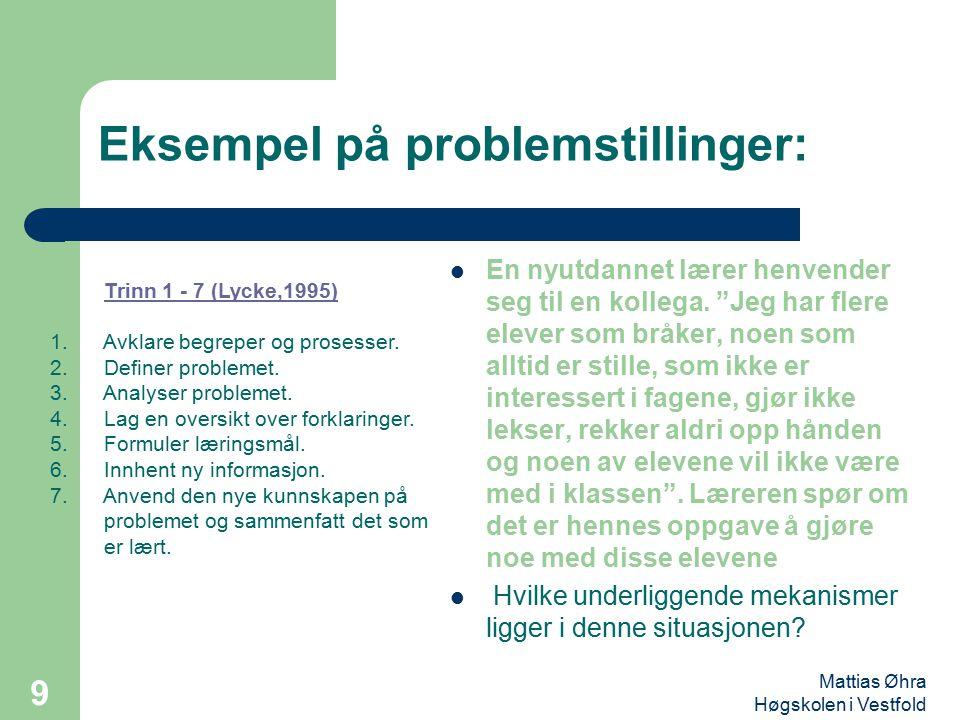 Eksempel på problemstillinger: