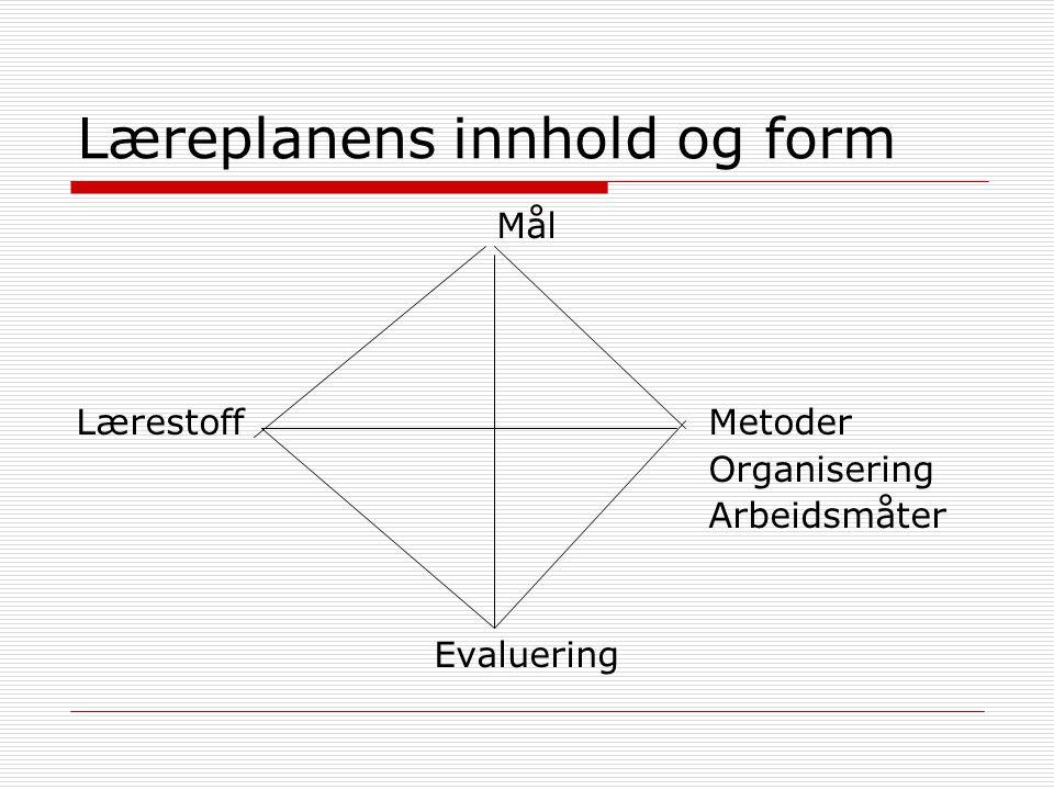 Læreplanens innhold og form