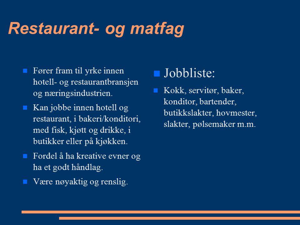 Restaurant- og matfag Jobbliste: