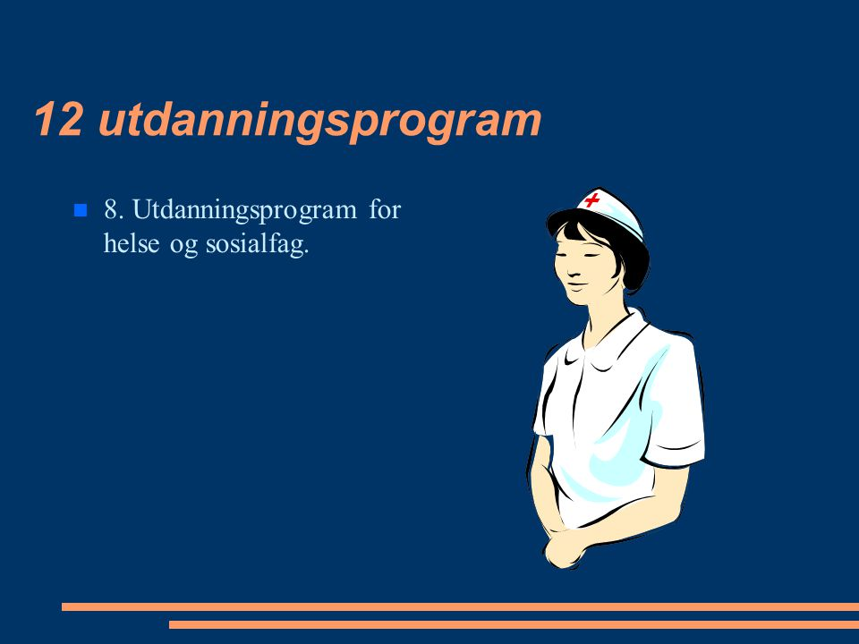 12 utdanningsprogram 8. Utdanningsprogram for helse og sosialfag.