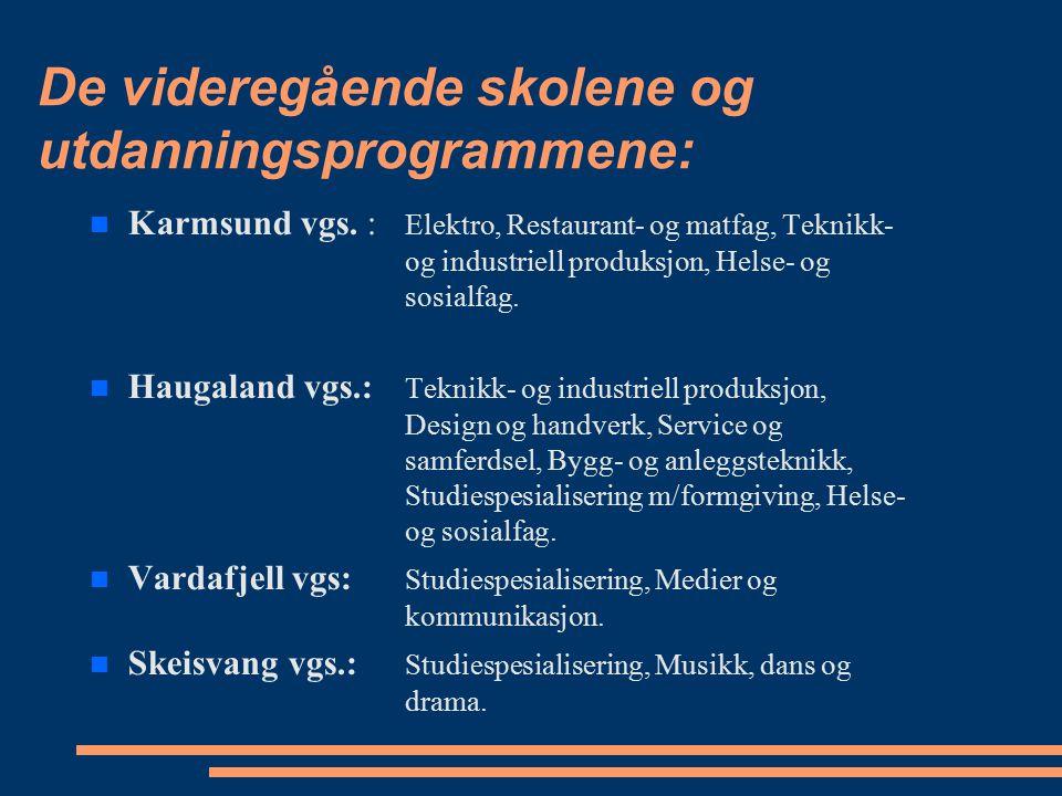 De videregående skolene og utdanningsprogrammene: