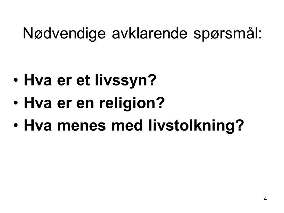 Nødvendige avklarende spørsmål: