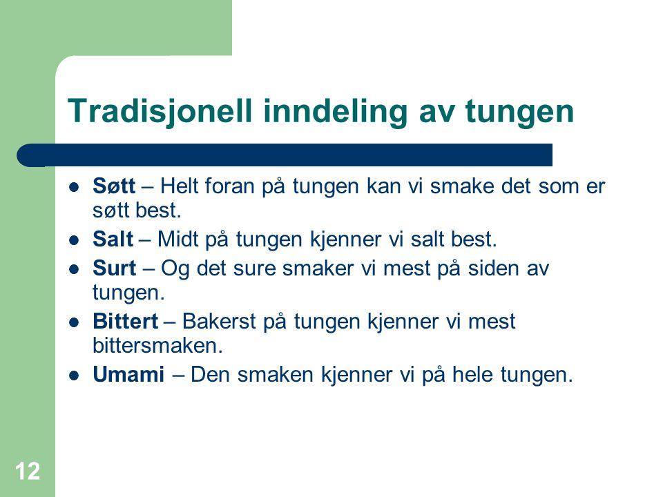 Tradisjonell inndeling av tungen
