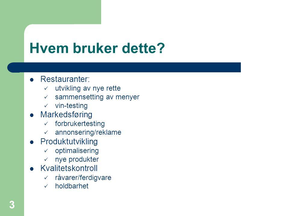 Hvem bruker dette Restauranter: Markedsføring Produktutvikling