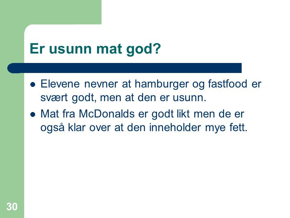 Er usunn mat god Elevene nevner at hamburger og fastfood er svært godt, men at den er usunn.