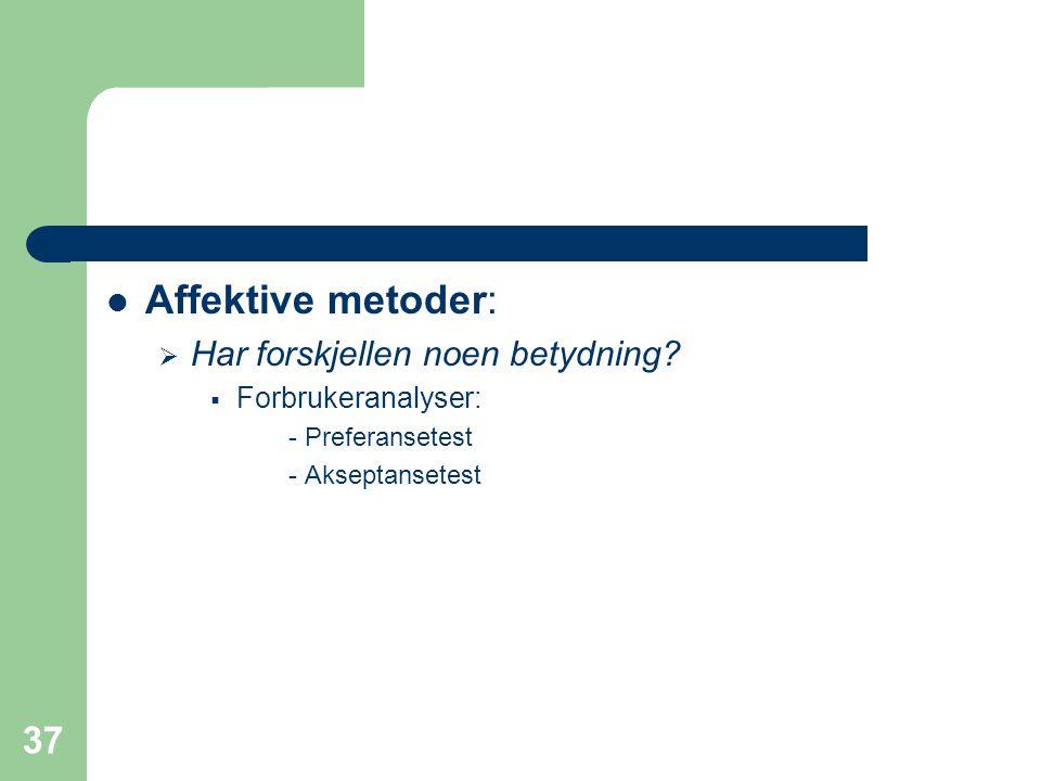 Affektive metoder: Har forskjellen noen betydning Forbrukeranalyser: