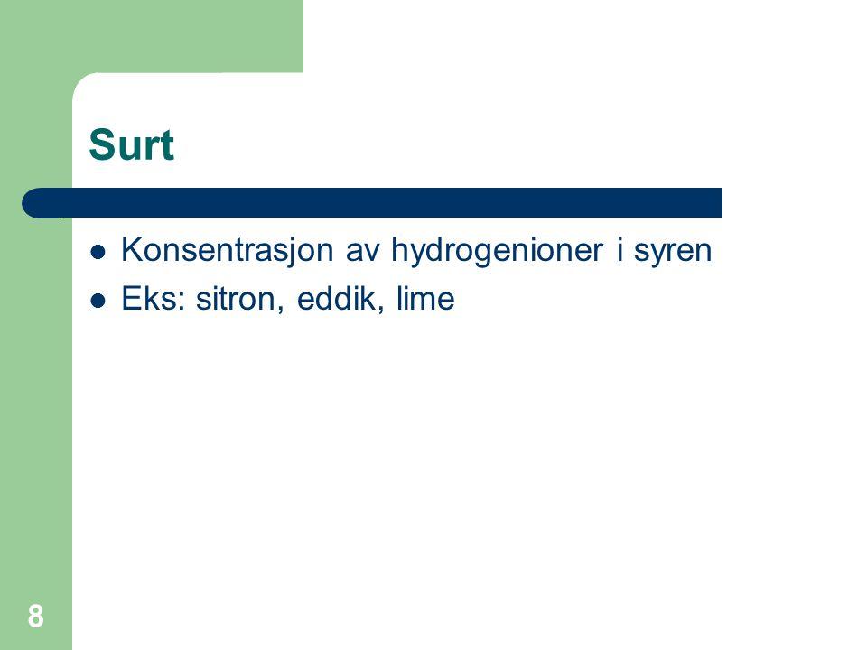Surt Konsentrasjon av hydrogenioner i syren Eks: sitron, eddik, lime