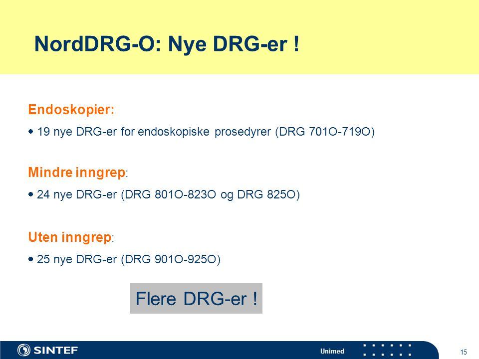 NordDRG-O: Nye DRG-er ! Flere DRG-er ! Endoskopier: Mindre inngrep: