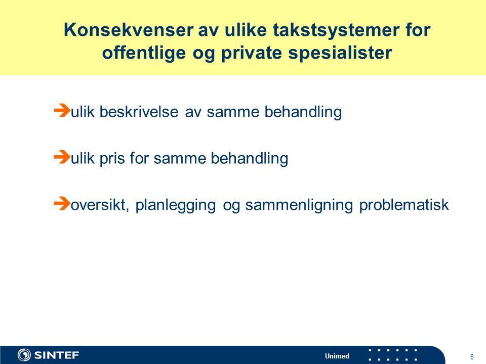 Konsekvenser av ulike takstsystemer for offentlige og private spesialister