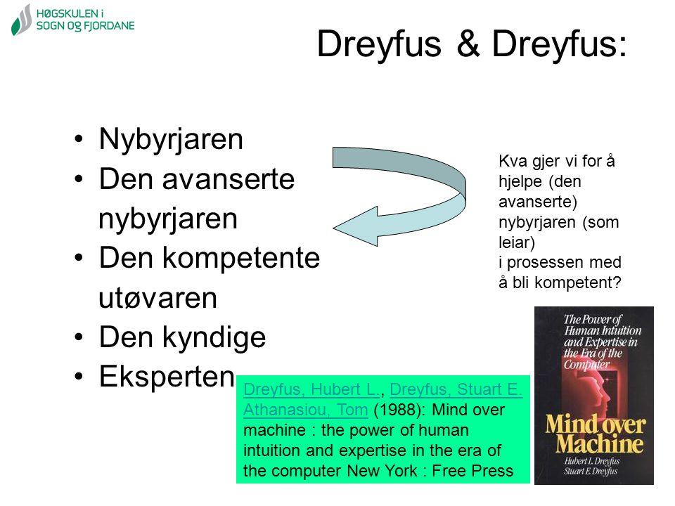 Dreyfus & Dreyfus: Nybyrjaren Den avanserte nybyrjaren Den kompetente
