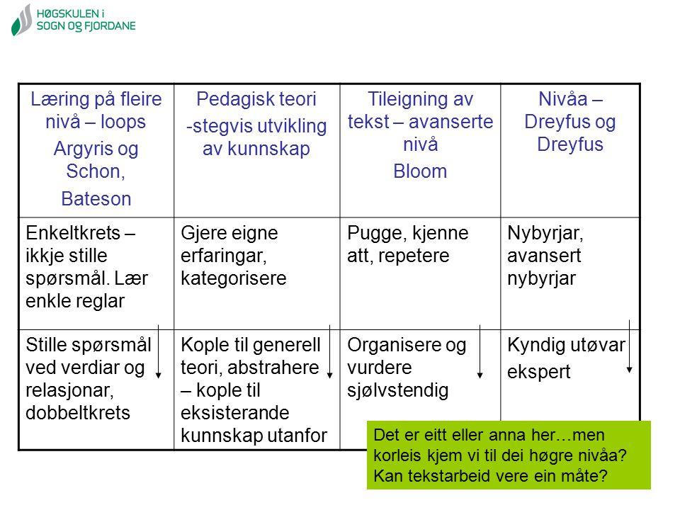 Læring på fleire nivå – loops Argyris og Schon, Bateson Pedagisk teori