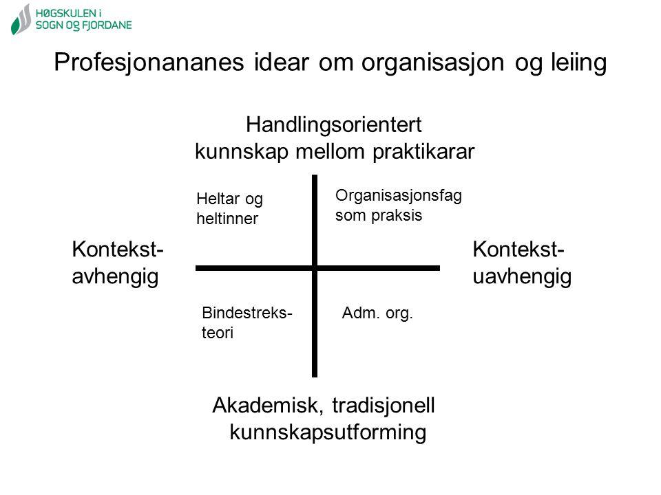 Profesjonananes idear om organisasjon og leiing