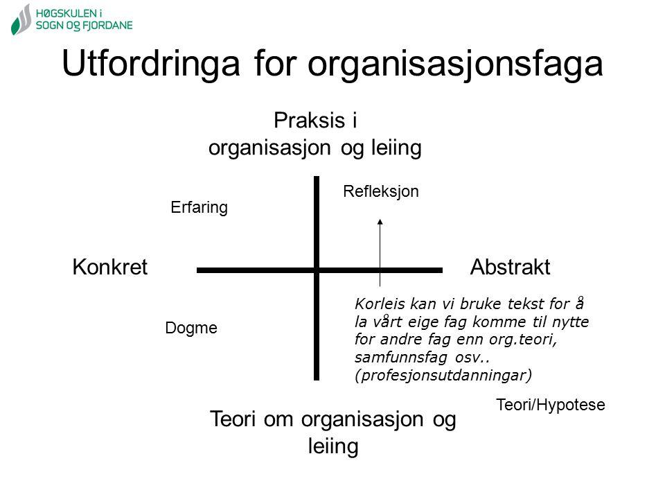 Utfordringa for organisasjonsfaga