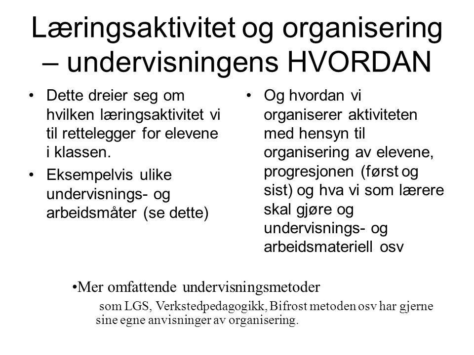 Læringsaktivitet og organisering – undervisningens HVORDAN