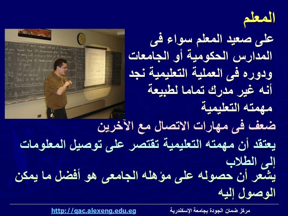 المعلم على صعيد المعلم سواء فى المدارس الحكومية أو الجامعات ودوره فى العملية التعليمية نجد أنه غير مدرك تماما لطبيعة مهمته التعليمية.