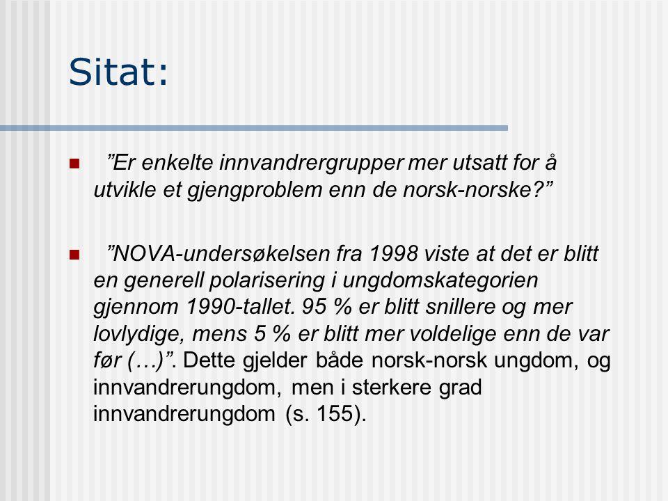 Sitat: Er enkelte innvandrergrupper mer utsatt for å utvikle et gjengproblem enn de norsk-norske
