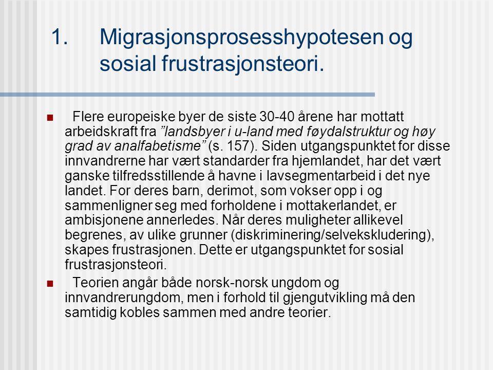1. Migrasjonsprosesshypotesen og sosial frustrasjonsteori.
