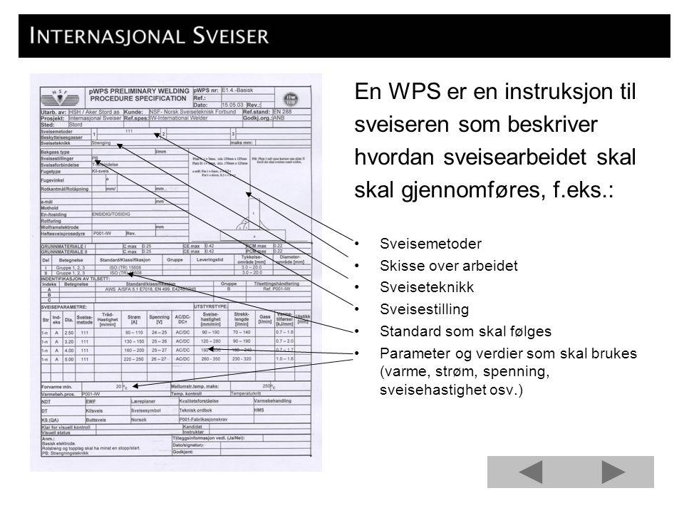 En WPS er en instruksjon til sveiseren som beskriver