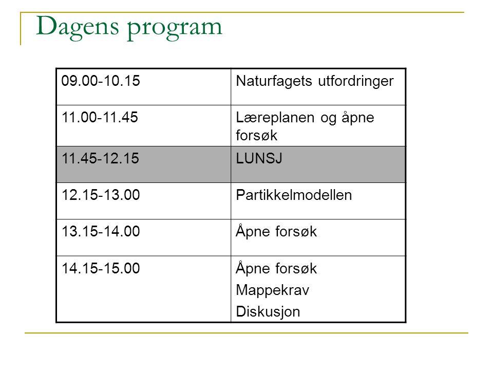 Dagens program 09.00-10.15 Naturfagets utfordringer 11.00-11.45