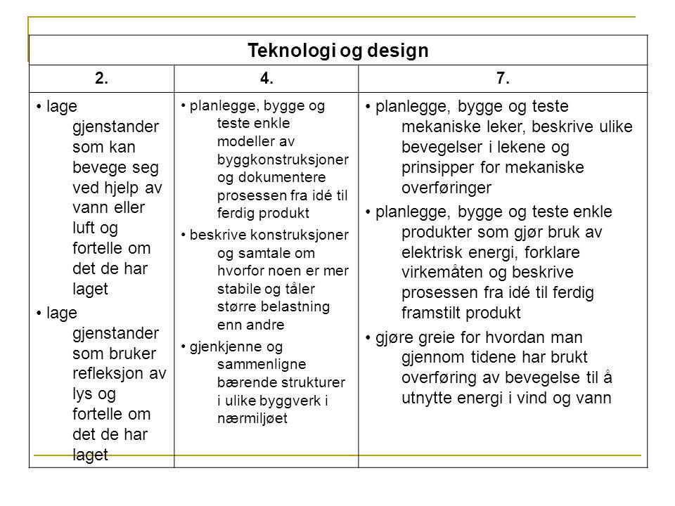 Teknologi og design 2. 4. 7. • lage gjenstander som kan bevege seg ved hjelp av vann eller luft og fortelle om det de har laget.