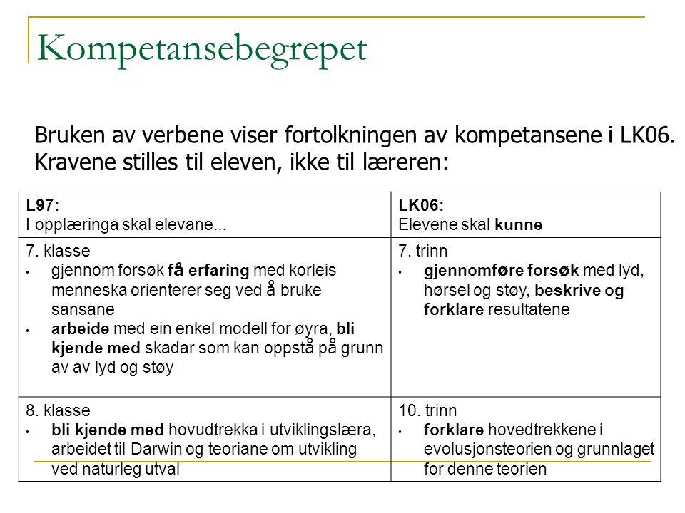 Kompetansebegrepet Bruken av verbene viser fortolkningen av kompetansene i LK06. Kravene stilles til eleven, ikke til læreren: