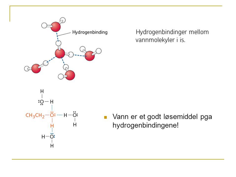 Vann er et godt løsemiddel pga hydrogenbindingene!